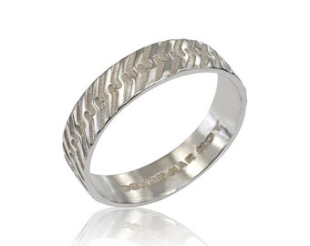 Mens Unique Band, Men's Wedding Band, Mens wedding Ring, 14K White Gold Mens Ring, Mens Wedding Ring, for Him, Fast Free Shipping