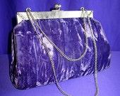 Harry Levine 1950s Purple Velvet evening clutch purse chain handle EXC vintage 50s