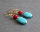 "Red and Turquoise Blue Earrings, Gemstone Dangle, Yellow Gold Plated, Magnesite, Jasper, ""Feisty"""