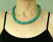 """Turquoise Bead Necklace, Hand Knotted Large 12mm Round Magnesite Gemstone Beads, Sterling Silver Clasp, Adjustable Length, """"Stately"""""""