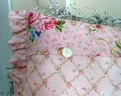 Pink Roses Trellises with vintage buttons make Shabby Chic Cottage Style Pillow