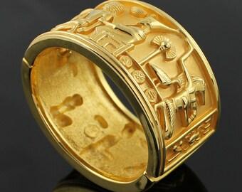 SALE - Vintage Elizabeth Taylor Egyptian Motif Bracelet - Gold Plated