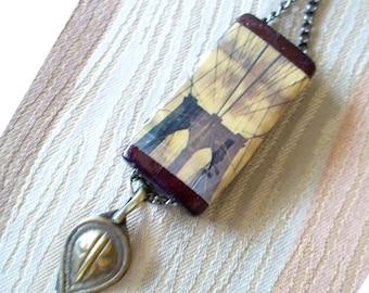 Brooklyn Bridge Pendant, Bamboo Pendant, Brooklyn Gift, Free Shipping in US