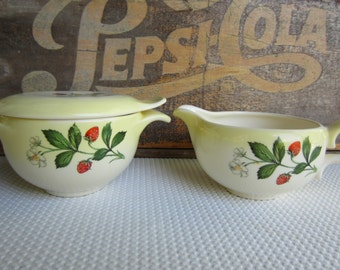 Vintage Strawberry Taylor Smith Taylor Sugar Bowl and Creamer