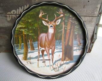 Vintage Deer in the Forest Metal Serving Tray James L. Artig