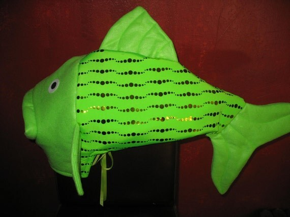 Lime green with gold bubbles fish head costume one size fits for Fish head costume
