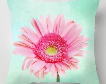 Pastel gerbera flower picture cushion / pillow