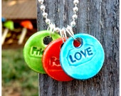Turquoise LOVE Orange FAMILY and Lime FRIENDS Charms on Sterling Silver Chain