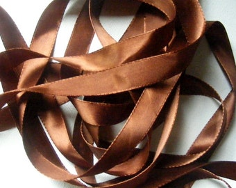Vintage 1940's French Satin Ribbon 5/8 Inch Gorgeous Chestnut Brown