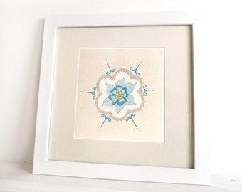 Bleuet - Limited Edition Fine Art Print - 8x8 Giclee Print - Aqua, white, stone & lime