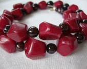 FREE SHIPPING Red on Red Garnet and Red Jade Necklace