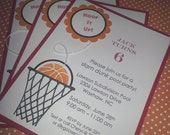 Basketball Invitations, Sports Invitations, Basketball Birthday, Sports Birthday, Basketball Baby Shower, Sports Baby Shower - Set of 8