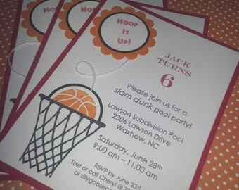 Basketball Invitations, Sports Invitations, Basketball Birthday, Sports Birthday, Basketball Baby Shower, Sports Baby Shower - Set of 8