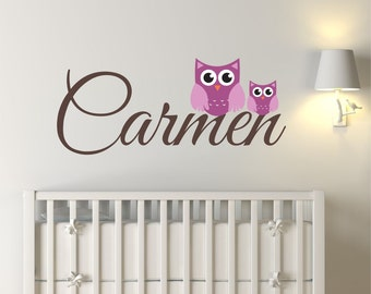 Owl Name Decal, wall decal, owl decal, nursery wall decal, wall decor, wall art, personalized decal, baby name, name decal, nursery name