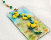 Yellow and blue flower fused glass suncatcher