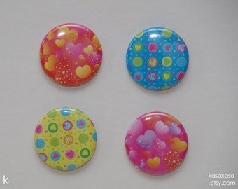 Heart Pattern Origami Button / Magnet Set of 4