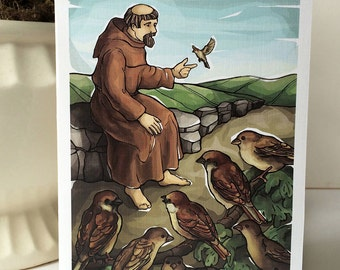 St Francis of Assisi with the Sparrows Note Cards