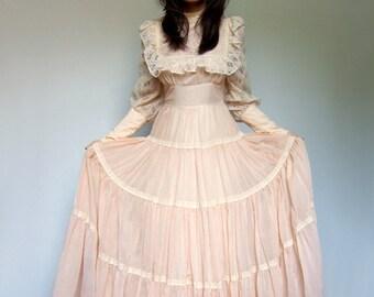 Gunne Sax Boho Maxi Dress Prairie Wedding Pale Peach Jessica McClintock - Extra Small XS/ S