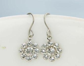 Crystal Flower Earrings - Hypoallergenic Titanium Earwires - Flower Girl Jewelry - Nickel free