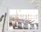 Venice Photo Notecard - Blue Gondolas in Venice, Italy, Fine Art Greeting Card, Stationery, Blank Notecard