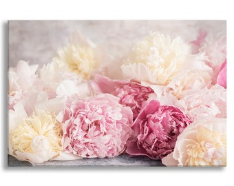Peony Photo on Canvas, Nature Fine Art Photograph Gallery Wrapped Canvas, Large Wall Art, Romantic Home Decor