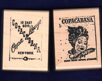 Copacabana Lounge Matchbook - Great Lot of 2 New WM Stamps - Cards - Collage - Scrapbooks - ATC - Domino Art - FREE Shipping