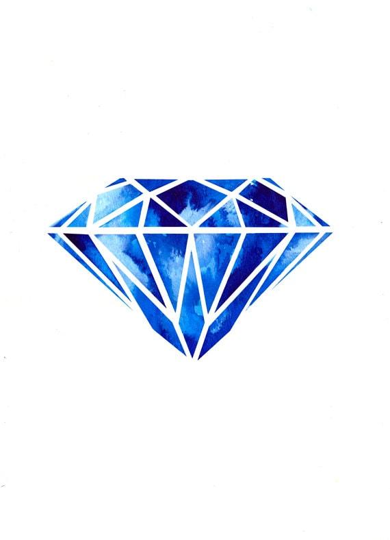Items similar to Diamond Illustration Art Print on Etsy