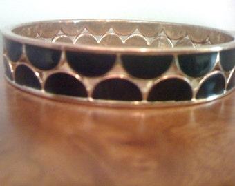 Mod Enamel Bracelet Black & Gold Tone Fish Scale Bangles Heavy Gold Plated Women Accessory