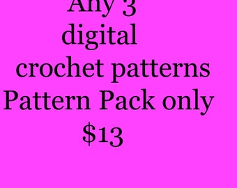 Package deal 3 digital crochet pattern pack for only 13dollars