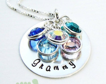 Women Jewelry - Handstamped necklace- Birthstone jewelry -Granny necklace