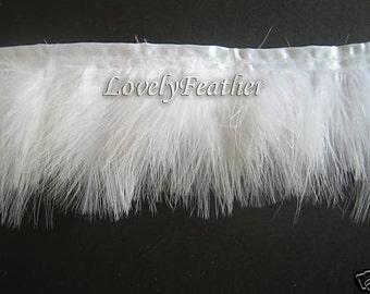 Marabou Feather fringeof white color 10 yards trim