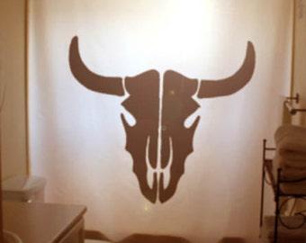 Cow Skull Shower Curtain bull head Bathroom Decor Kids Bath South Western cowboy cowgirl ranch unique custom simple silhouette black white