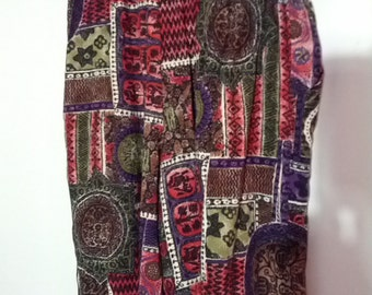 size 6 shorts culottes pattern ethnic aztec 80s 90s grunge hippie surfer skater