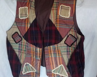 patchwork vest patch grunge large hippie stoner 90s 70s earthy