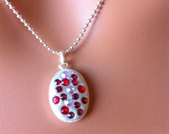 Crystal clay pendant necklace with swarovski elements beaded chain red sparkly holiday jewelry
