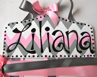 Hair Bow Holder-Chevron Personalized