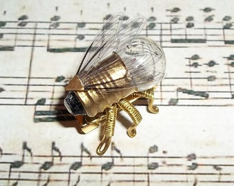 Steampunk brooch -Tiny Fly Lightbulb Brooch - OOAK Unique Steampunk Steam Punk Clockwork Jewelry