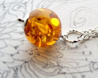 Simple amber necklace, resin necklace, globe pendant necklace
