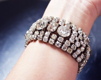 Sparkly Vintage Rhinestone Cuff Bracelet - deco clasp and security chain