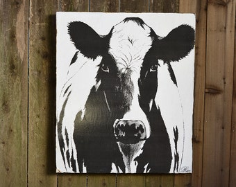 COW - 36x42 - Farmhouse Chic - French Country - reclaimed wood - RuPiper Designs Original