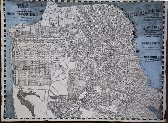 Vintage san francisco map 30x36 salvaged wood handmade Salvaged wood san francisco