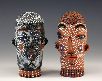 An Original Jenny Mendes - A Salt and Pepper Shakers - The Two Heads - Original Functional Sculpture
