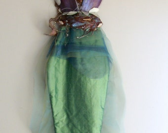 MERMAID WALL HANGING Green Silk - 65 inches Tall x 19 inches Wide (165 cm x 48 cm) Free Shipping