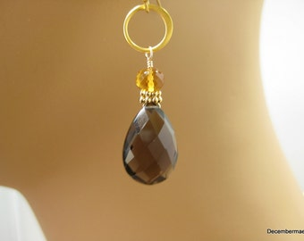 Smoky Quartz Briolette Earrings with Citrine in Gold