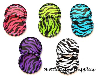 100 pc FLAT Mix  Zebra Stripes Double Sided Painted Linerless  Colored Bottle caps Blue Purple Pink Green Mix  YOU CHOOSE