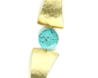 Bardot Bracelet - A Turquoise Bead Between Two Hammered Brass Triangles.