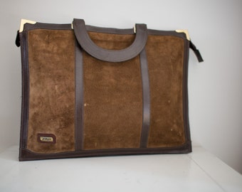 Vintage Choclate Brown Suede Briefcase Laptop Carry All Bag