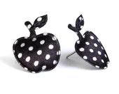 Black polka dots apple applique satin felt hypoallergenic studs earrings (398) - Flat rate shipping