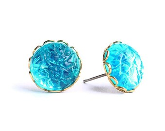Emerald baroque jewel hypoallergenic surgical steel post earrings READY to ship (451) - Flat rate shipping