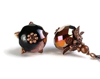 Black and copper Czech glass rondelle and antique copper leverback earrings (243) - Flat rate shipping